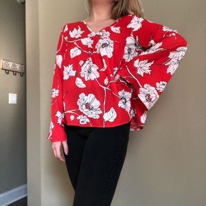 COPPER KEY red flowy floral top